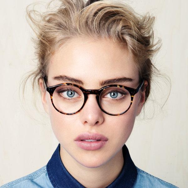 occhiali e capelli all'indietro