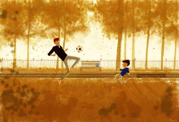 a pallone col proprio figlio