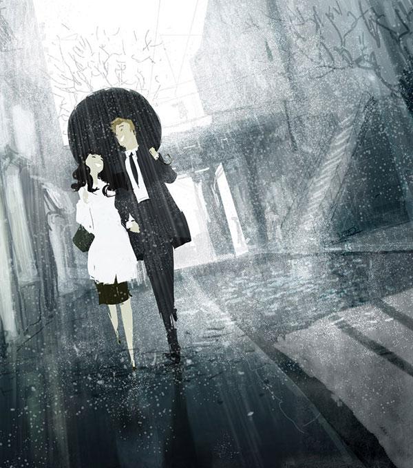insieme in un giorno di pioggia