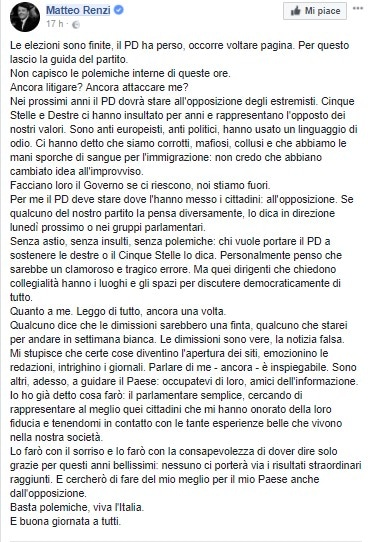 Il post di Renzi su facebook