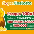 Superenalotto, Pasqua 100x100: in palio 100 premi da 100.000€