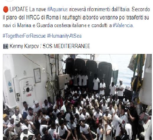 Aquarius andrà a Valencia