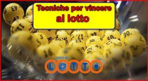 CARTELLO TECNICHE per vincere al lotto