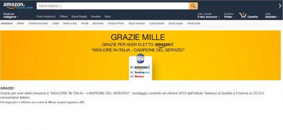 Amazon Grazie 1000, offre 10 euro di sconto come ringraziamento per i clienti