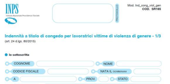 Congedo donne vittime di violenza (modulo SR165 e istruzioni in pdf)