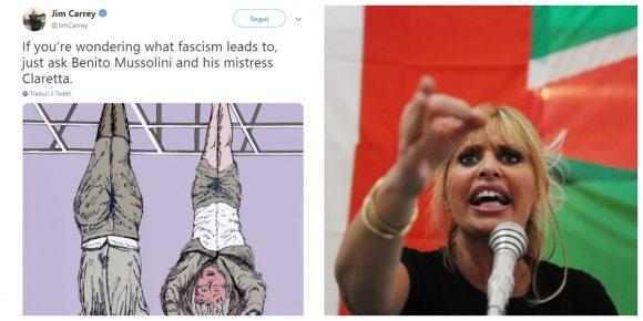 La faida online tra Jim Carrey e Alessandra Mussolini continua