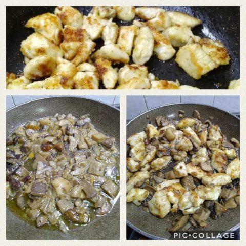 Pollo e funghi preparazione
