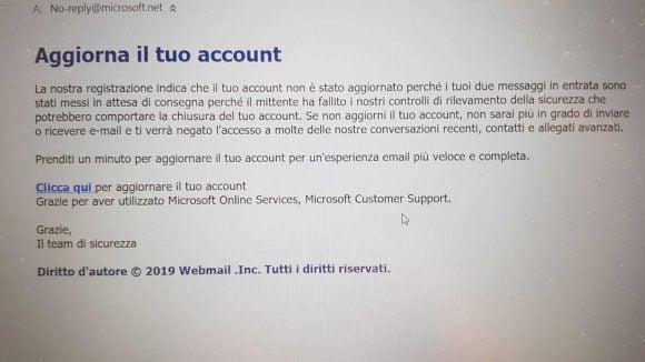 Truffa mail per aggiornamento account Microsoft, vi rubano soldi e dati personali