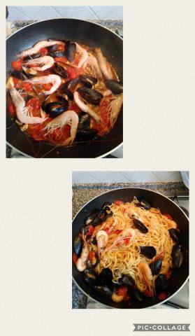 Spaghetti cozze e gamberi preparazione