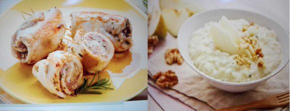 Sapori e colori d'autunno: risotto pere e gorgonzola e involtini di pollo e funghi