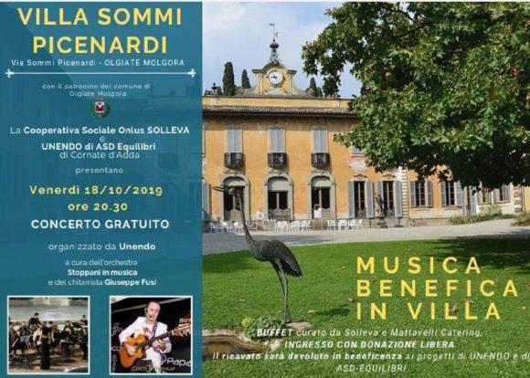 """Concerto gratuito """"Musica Benefica in Villa"""" il 18 ottobre 2019"""