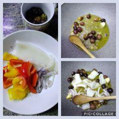 preparazione calamaro e olive