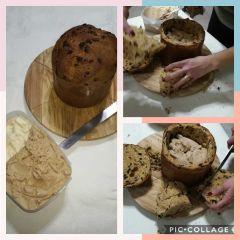 preparazione panettone gelato