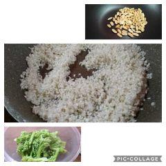preparazione risotto con broccoli