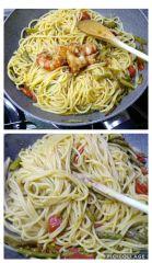 preparazione spaghetti asparagi e gamberi