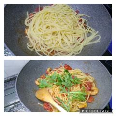 preparazione spaghetti gamberi pomodori e rucola